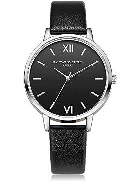 Loveso-Damen uhr Armbanduhr elegant Retro Entwurfs-silberne Rand-Leder-Band-analoge Legierungs-Quarz-Armbanduhr_Schwarz
