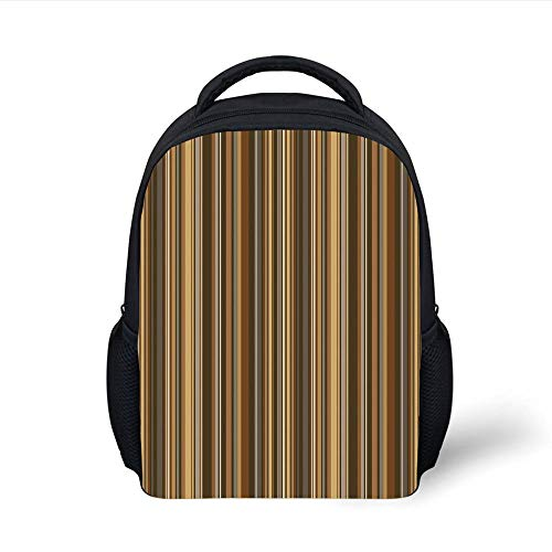 Kids School Backpack Abstract,Vertical Lines in Earthen Toned Color Stripes Various Shades Pattern Decorative,Light Caramel Chocolate Plain Bookbag Travel Daypack -