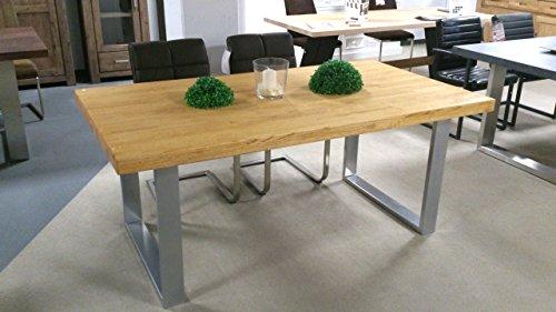 Eiche Esszimmer-möbel (Möbel Akut Esstisch Esszimmer Massivholz Tisch in Eiche Natur massiv geölt in 180x100 cm U-Gestell)