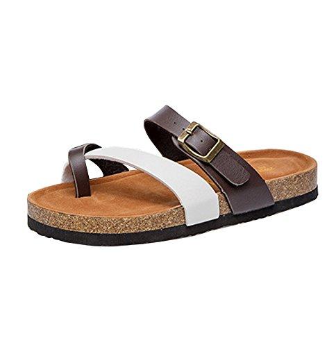 Damen Zehentrenner Unisex-Erwachsene Flache Hausschuhe Strandschuhe Kork Fußbett Sandalette Pantolette Sandalen Korkoptik Bequem 39 weiß AriTjpJXY