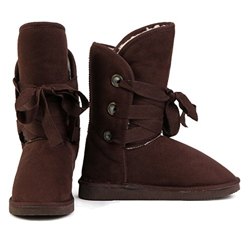 TOOGOO(R) Inverno di lana merletta in su le donne delle donne della neve Scarpe delle signore signore nero-US 5 = Cina 36 =23cm Marrone