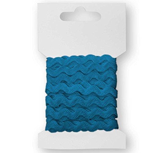 maDDma ® 3m Qualitäts-Zackenlitze Borte Zick-Zack-Borte auf Karte, 5mm breit, Farbwahl, Farbe:capriblau