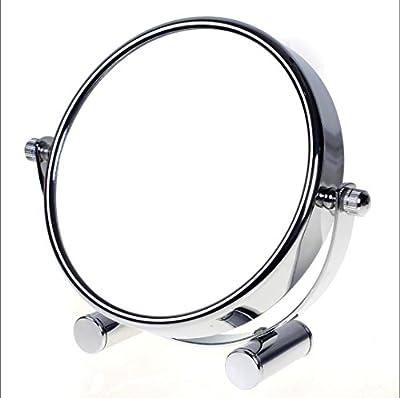 TUKA Designed Kosmetikspiegel 6 inch, Doppelseitiger Tischspiegel Standspiegel Schminkspiegel, 360° drehbar Rasierspiegel Badezimmerspiegel Verchromten. Normal + 5 / 7 / 10 fach Vergrößerung TKD3142