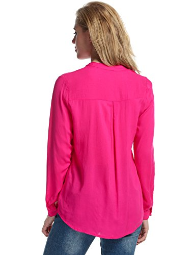 Meaneor Damen Chiffon Schluppenbluse Klassic Hemd Blusen Beiläufig Bluse langarm shirt blusenshirt Loose fit Rosa