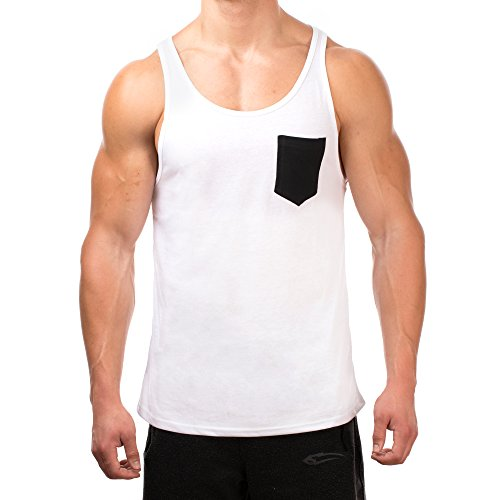 SMILODOX Tank Top Herren mit Brustasche | Muskelshirt ideal für Sport Gym Fitness & Bodybuilding | Muscle Shirt - Stringer - Tanktop - Unterhemd - Achselshirt, Farbe:Weiss / Schwarz, Größe:XL (Schwarz Leder Botschaft)