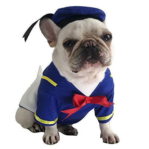 Tragen Niedlichen Hunde Kostüm - 3D dreidimensionale Ente Haustier Kostüm zwei Beine tragen Halloween Hund Kleidung blau Frühling Herbst neue Katze Kleidung Keji niedlichen Hut Heimtierbedarf (Size : S)