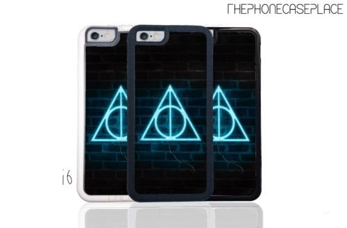 Harry Potter Deathly Hallows Neon Sign Hand Made iPhone or Samsung Phone Case iPhone 6 Black Plastic (Halloween Decor Clearance)
