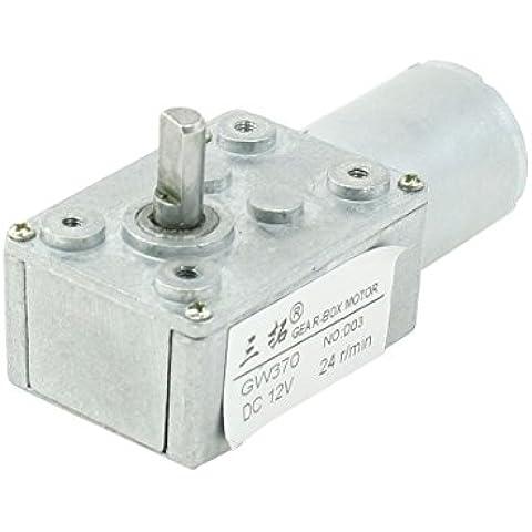 Sourcingmap - 6mmx13mm motore 24rpm mandrino 2 pin di alimentazione del diametro di 24mm 12v dc orientata - Alimentazione Shaft