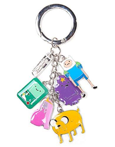 Adventure Time - Metal Keychain With Finn, Jake, Beemo, Lumpy, Princess Bubblegum Charm