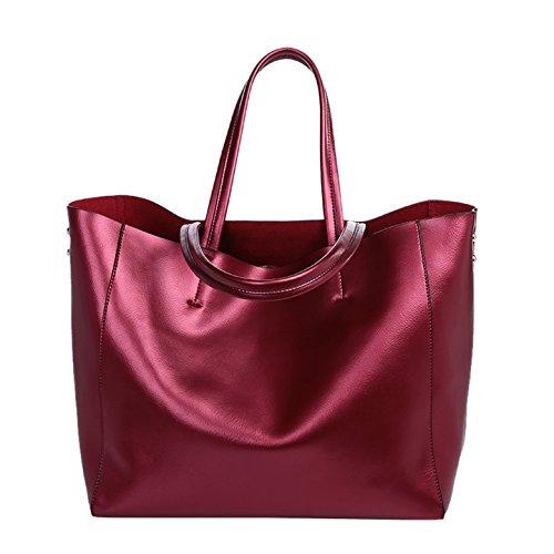 Valin Q0602 deman Leder Handtaschen Top Handle Satchel Tote Taschen Schultertaschen ,34x31x15cm (B x H x T) Rot