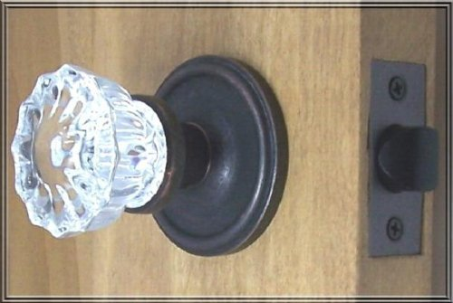 Premium 12 point fluted Depression Crystal Door Knob Passage Set, our Premium Oil Rubbed Bronze over Solid Brass Retrofit ha by Rousso's Reproduction Fluted Crystal