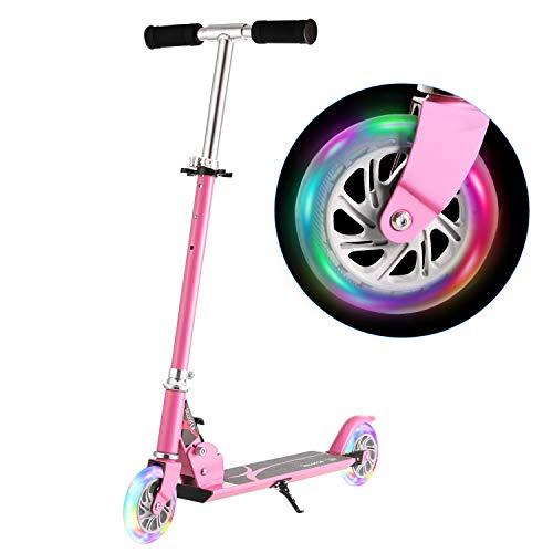 WeSkate Roller Scooter für Kinder, Höhenverstellbarer Kinderroller Tretroller Cityroller mit 2 Blinkenden LED-Rollen, Faltbarer Tragbar Kinderscooter für Jüngere Mädchen ab 3-12 Jahre