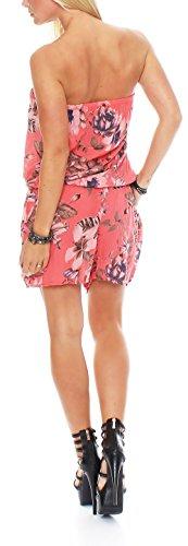 malito Damen Einteiler mit Flower Print | kurzer Overall mit Stoffgürtel | Jumpsuit �?Playsuit �?Romper 8058 Coral