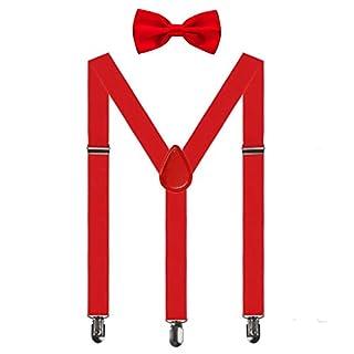 Aissy Herren Damen Hosenträger 2.5cm Y Form 3-Clips elastisch und längenverstellbar Hosenträger breit mit Fliege für Herren und Damen Rot