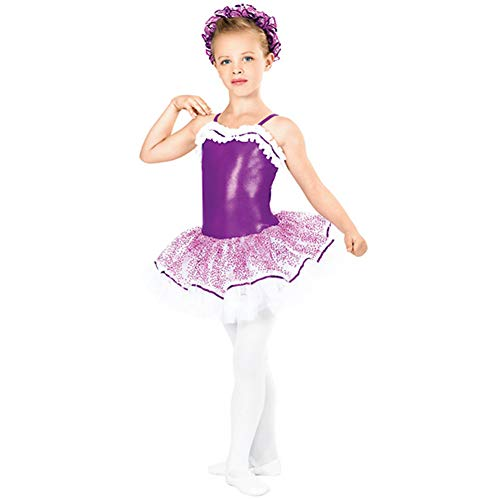 Kostüm Kinder Niedliche Tanz - JIE. Tutu-Kinder-Ballett Rock Tanz Kostüm Sprinkling Gold Net Rock niedlich Sling Dress Tutu, Purple + White,XLC