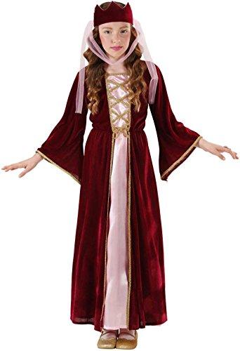Widmann 12578 - Kinderkostüm Burgfräulein, mittelalterliche Königin, Kleid mit Kopfbedeckung in Größe 158 cm
