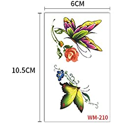 3Pcs-Autocollant De Tatouage Papillon Noir Blessure Bleu 3D Papillon Fleur De Tatouage Sweat Imperméable À L'eau Enfant Autocollant Génération 3Pcs-21