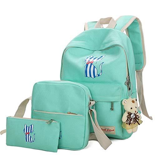 3 Unids/Set Chicas Cat Impresión School Mochila Lienzo Schoolbags Green L29cm W12cm H38cm