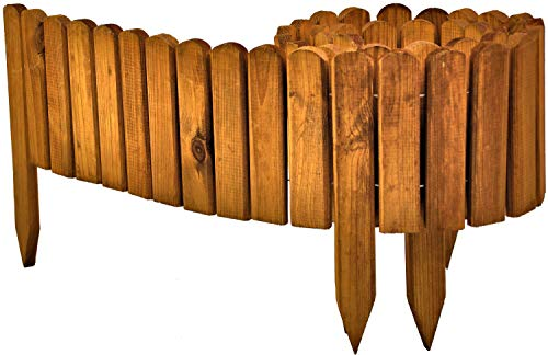 Floranica® Beetzaun 203x20 cm aus Holz als Steckzaun Rollboarder, Beeteinfassung, Beetumrandung, Rasenkante, Beetzaun oder Palisade - wetterfest imprägniert, Farbe:braun
