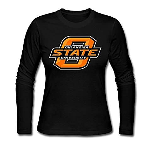 Hison Women Classic Cotton Tees Long Sleeve Oklahoma State University Logo T-shirt Black M