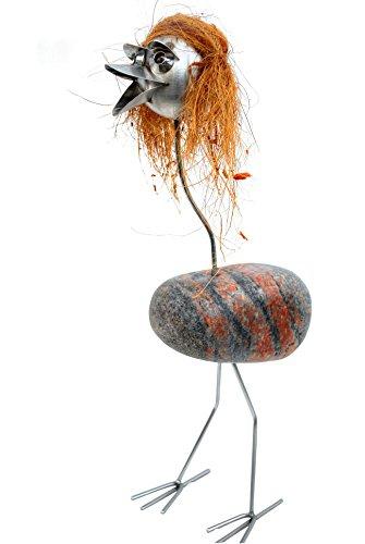Mia ist mit ihren Haaren etwas Besonderes. Gartenfigur-Edelstahl-Steinvogel mit Naturstein und Kokoffaser Haare wetterfest, rostfrei. Lustige Skulptur als Deko für Garten, Terasse, Balkon und Wohnung. Ideal auch als Damen und Herren Geschenk. -