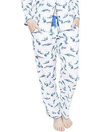 Cyberjammies 4055 Womens Amelia White Leaf Print Pyjama Pant
