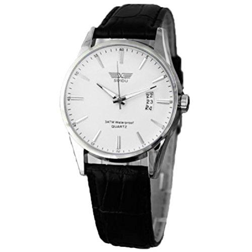 Relojes Hombre,Xinan Clásico Negro Correa de Cuero Calendario de Pulsera de Cuarzo (Blanco)