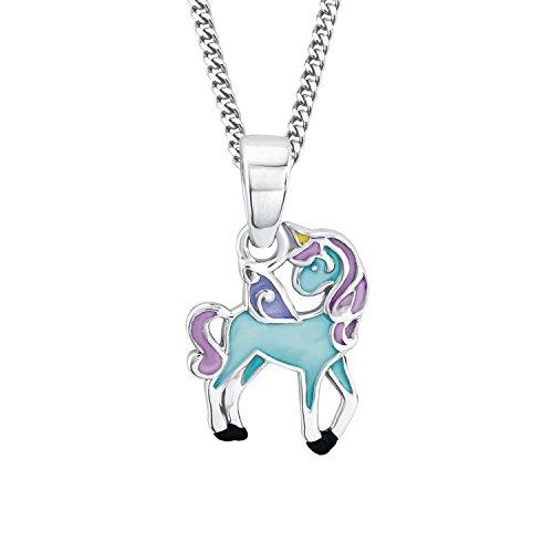 Prinzessin Lillifee Niños de cadena con colgante Unicornio Blue 925plata rodio Esmaltado 38cm-2013161