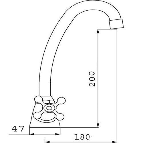 Nostalgiearmatur -Küchen-Standmischbatterie Retro mit Drehauslauf-Hochdruckarmatur-Küchenarmatur-Zweigriff Armatur-Zweigriff Mischer-Spültischarmatur-Modell: Retro New-FERRO - 2