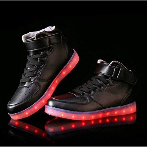 (Présents:petite serviette)JUNGLEST® Unisexe Homme Femme USB Charge LED Lumière Lumineux Clignotants Chaussures de marche Chaussures de Sports Baskets LED Hig Noir