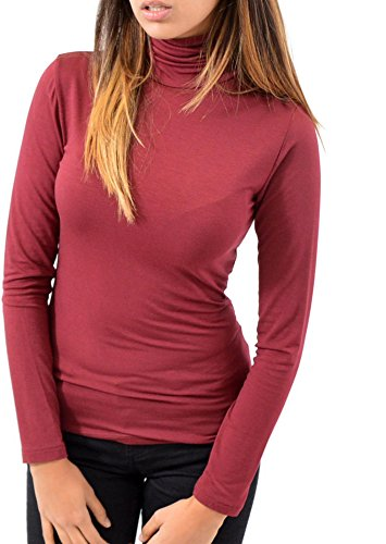 Lupetto Maniche Lunghe Nero 100% MADE IN ITALY Abbigliamento Donna Moda Viscosa Bordeau