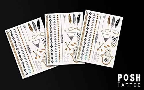 ve im 3er Set - Federn Unendlichkeit Armbänder Fußketten Hand Pfeile - Temporäres Tattoo mit jeweils 17 Gold Silber Schwarz Motive - Original POSH Tattoo ()