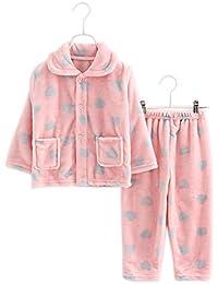 Flannel Niños pijama rosa corazón traje de baño suave pijama traje de noche