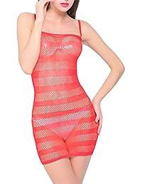 HEXUQIANG Mujer Lencería Media del cuerpo Transparente Raya Red de pesca Pijama Ropa Vestir , red