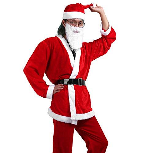 Agoky Weihnachtsmann Kostüm Plüsch Nikolaus Nikolauskostüm Mantel Hose mit Mütze, Bart, Gürtel Weihnachten Outfits Party Cosplay Kleidung Rot One ()
