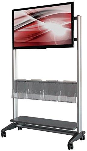 442105 Digital Signage Kiosk Stand Rack aus Aluminium mit 42 Zoll LED Monitor TV und DINA4 Prospektboxen, als Bausatz Digital-signage-stand
