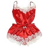 POIUDE Damen Sexy Anzughosenträger Satin-Pyjama-Spitzensling-Shorts,Zweiteilige Unterwäsche Spitze Pyjama Set(Rot, Large)