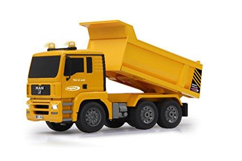 RC Auto kaufen Baufahrzeug Bild 2: Jamara 405002 - Muldenkipper MAN 1:20 2,4G - Kippmulde hoch / runter, realistischer Motorsound, Hupe, Rückfahrwarnsound, 4 Radantrieb, gelbe LED Signallichter, programmierbare Funktionen*