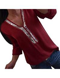 ORANDESIGNE Chemisier Femmes avec Paillettes Shirt Couleur Unie Blouse Col  en V Tops T-Shirt Manche Longue Tunique Casual Chemise… b4f12ec65347
