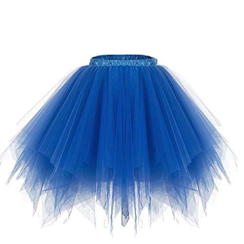 SUPIPARTY Damenrock Mädchen Ballett Tüllrock Partyrock 3-Lagig Tütü Tutu Rock Vintage, 45cm, L, blau SP-11074