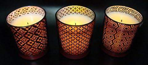 3x Candle Impressions Flammenlose Echtwachskerze (Grenadine/orientalisch) Rot, in dekorativen Gläsern; Höhe 10,1cm; Durchmesser 5cm; inkl. integrierte Zeitschaltuhr/Timer 5 Stunden, mit Vanilleduft, LED Echtwachskerze, LED Kerze, Lampe, Weihnachtslicht, Laterne, Licht, Tischlicht, Tischdekoration, Batteriebetriebene Kerze, Elektrische Kerze