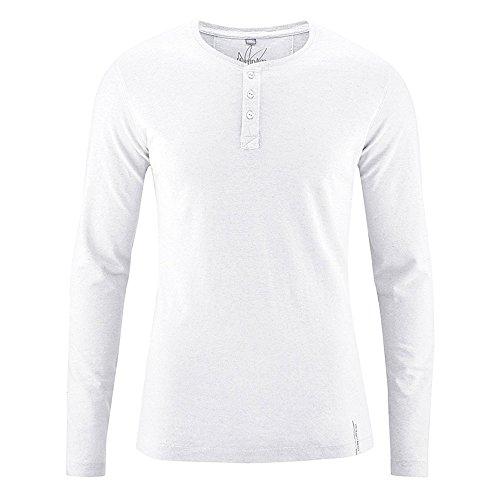 HempAge Herren Knopfleistenshirt aus Hanf und Bio-Baumwolle White