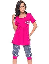 dn nightwear Damen Schlafanzug / Pyjama für Schwangerschaft und Stillzeit PCB.5006