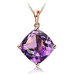 9de127920992 Epinki Oro de 18 Quilates Collar Cuadrado Forma Colgante Mujeres Collar de  Diamantees Lila-6.5