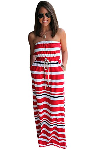 Nautisches roten Streifen Print Trägerlos Zurück Maxi Kleid mit Taschen Größe L 12–14UK (Kleid Prom Zurück)