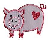 TrickyBoo 2 Aufbügler Schwein 7X6cm Schaf 8X7cm Set Aufnäher Flicken Applikationen zum Ausbessern von Kinder Kleidung mi