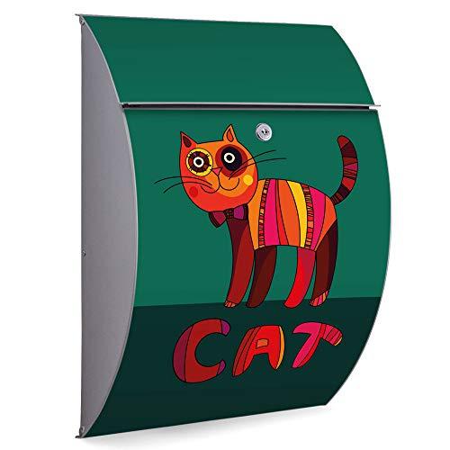 Burg Wächter Briefkasten Edelstahl | Modell Riviera 46cm x 33,5cm x 13cm groß | Postkasten mit Öffnungsstopp, großer A4 Einwurf, Zylinderschloss, 2 Schlüssel | Motiv Orange Katze