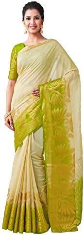VIBTAG Women's Kanchipuram Linen Saree With Blouse Piece (16_Be