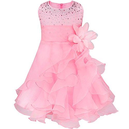 Tiaobug Baby Mädchen Kleid Prinzessin Hochzeit Taufkleid Blumenmädchen Festlich Kleid Kleinkind Festzug Kleidung Rosa 98 (Herstellergröße: 90) (Kleinkind-kleid-kleider)