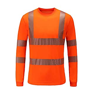 AYKRM Hi Viz Vis High Visibility Polo Shirt Reflective Tape Safety Security Work Button T-Shirt Breathable Lightweight Double Tape Workwear(M-3XL) (M, Orange)